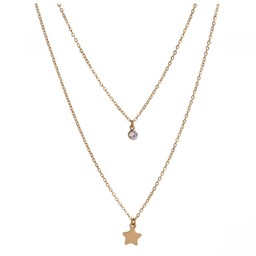 Lucy Cobb Jewellery Keira Clear Crystals Multi Row Short Necklace - Gold