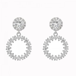 Lucy Cobb Accessories Kylie White Gold Cubic Zirconia Hoop Earrings - Silver