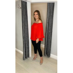 Lucy Cobb Blair Bardot Frill Top in Red