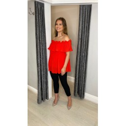 Lucy Cobb Bonnie Bardot Frill Top in Red