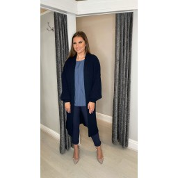 Lucy Cobb Calli Chunky Knit Cardigan in Navy