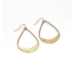 Lucy Cobb Jewellery Hammered Open Teardrop Earrings 1355 in Gold