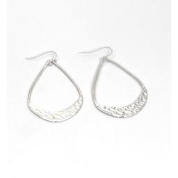 Lucy Cobb Jewellery Hammered Open Teardrop Earrings 1355 in Silver
