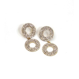Lucy Cobb Jewellery Sparkle Double Hoop Stud Earrings 1361 - Gold