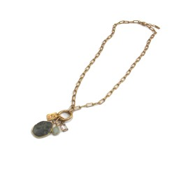 Lucy Cobb Jewellery Stone Multi-charm Chain Long Necklace 1520 - Gold