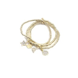 Lucy Cobb Jewellery Multi-charm Layered Bracelet 1541 in Gold
