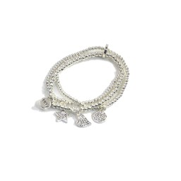 Lucy Cobb Jewellery Multi-charm Layered Bracelet 1541 in Silver