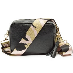 Elie Beaumont Leather Crossbody Bag in Black With Pink Camo