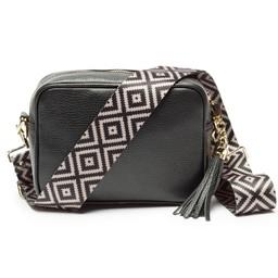 Elie Beaumont Leather Crossbody Bag - Black With Diamond