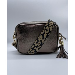 Elie Beaumont Leather Crossbody Bag in Bronze With Leopard