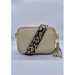 Elie Beaumont Leather Crossbody Bag in Stone With Leopard