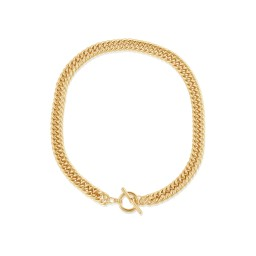 Big Metal London Molly Curb Chain Statement T-Bar Necklace - Gold