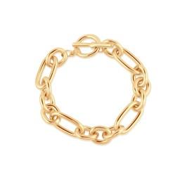 Big Metal London Maude Oval Links T-Bar Statement Bracelet - Gold
