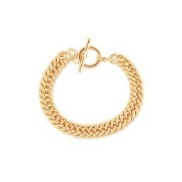 Big Metal London Molly Curb Chain Statement T-Bar Bracelet - Gold