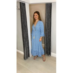 Lucy Cobb Maya Bell Sleeve Midi Dress in Denim Blue
