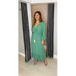 Lucy Cobb Maya Bell Sleeve Midi Dress in Emerald Green