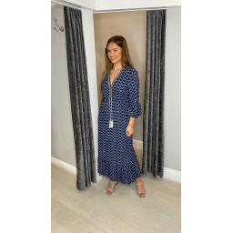 Lucy Cobb Maya Bell Sleeve Midi Dress in Navy