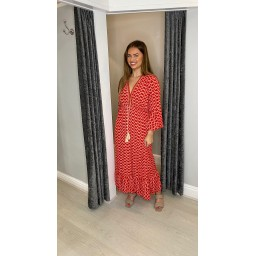 Lucy Cobb Maya Bell Sleeve Midi Dress in Red