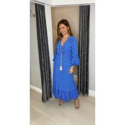 Lucy Cobb Maya Bell Sleeve Midi Dress in Royal