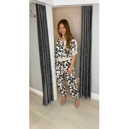 Lucy Cobb Leoni Leopard Harem Trousers in Stone