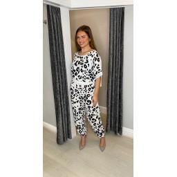 Lucy Cobb Leoni Leopard Harem Trousers - White