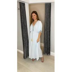 Lucy Cobb Maya Plain Tassel Dress in Baby Blue