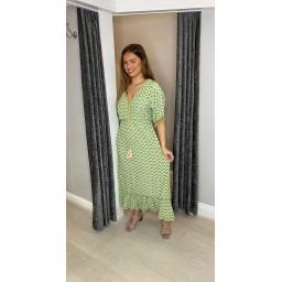 Lucy Cobb Maya Tassel Midi Dress in Lime