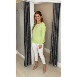 Lucy Cobb Cara Cashmere Mix Jumper  in Apple Green