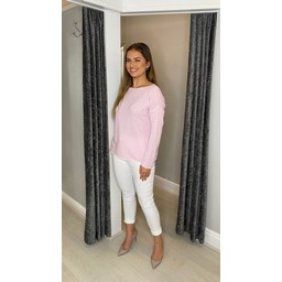 Lucy Cobb Cara Cashmere Mix Jumper  in Baby Pink
