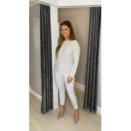 Lucy Cobb Cara Cashmere Mix Jumper  in Dove Grey