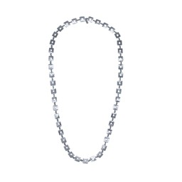 Lucy Cobb Jewellery Square Chain Long Necklace 1448 - Silver