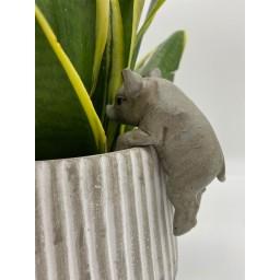 Lucy Cobb Homeware Animal Pot Hangers (2pk) in Tristan Piglet Grey