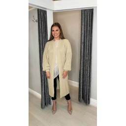 Lucy Cobb Calli Chunky Knit Cardigan in Camel