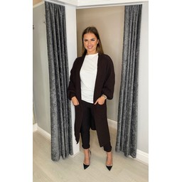 Lucy Cobb Calli Chunky Knit Cardigan in Chocolate