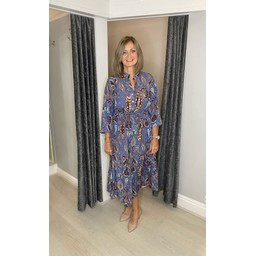 Lucy Cobb Portia Paisley Midi Dress - Denim Blue