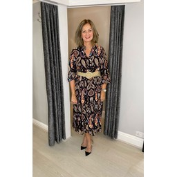Lucy Cobb Portia Paisley Midi Dress in Black