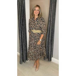 Lucy Cobb Gianna Printed Midi Dress in Mocha