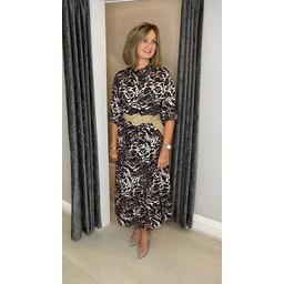 Lucy Cobb Gianna Printed Midi Dress in Animal Print