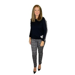 Robell Trousers Rose Geometric Jacquard Trousers - Black Mix