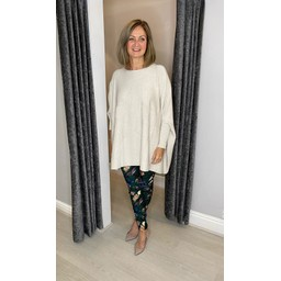 Lucy Cobb Sydni Oversized Star Jumper in Stone