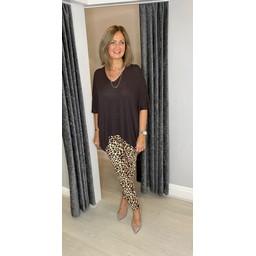 Lucy Cobb Milani Magic Joggers in Leopard Print Brown