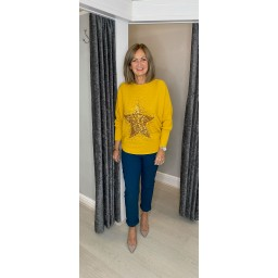 Lucy Cobb Remy Ribbed Sequin Star Jumper in Mustard
