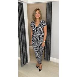Lucy Cobb Linosa  Animal Print Jumpsuit - Black & White Stripe