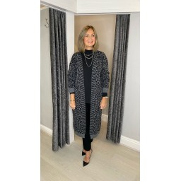 Lucy Cobb Lettie Leopard Print Long Cardigan in Charcoal