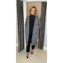 Lucy Cobb Lettie Leopard Print Long Cardigan in Silver Grey