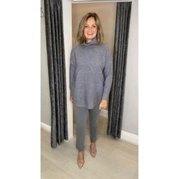 Lucy Cobb Darcie Diamond Knit Jumper in Grey