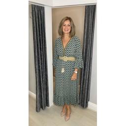 Lucy Cobb Maya Bell Sleeve Midi Dress in Khaki