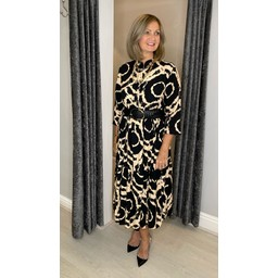 Lucy Cobb Portia Printed Midi Dress - Black Mix