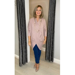 Lucy Cobb Timah Plain Crossover Tunic in Baby Pink