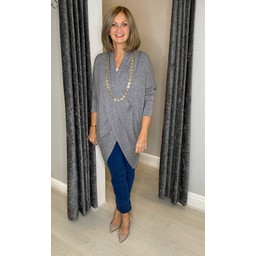 Lucy Cobb Timah Plain Crossover Tunic in Mid Grey